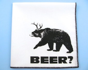 Hankie- DEER+BEAR=BEER shown on super soft white cotton hanky-or choose from any solid color or plaids shown in pics