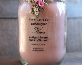 4 pack Bridesmaid Candles be my maid of honor gift rustic bridesmaid gifts custom labels choose your scent Montana made candles