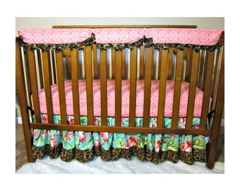 Crib bedding, Bumperless Crib Rail Guard, Bedding Set, Baby Girl Bedding, Crib sheet, Bumperless Bedding Crib Bedding, Rail Cover, baby deco