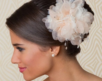 Bridal Hair Flower Hair Accessory with Pearls and Crystal, Flower Headpiece