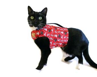 Red Kitty Cat Harness-Cutom Cat Harnesses-Cat Vest-Red Cat Harness-Cat Clothes-Clothes for Cats-Harnesses for Cats-Cat Jacket-Cat Coat