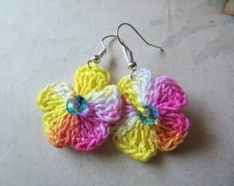 Yellow and Pink Crochet Flower Earrings