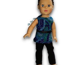 "Blue and Green stones print Top & Leggings Outfit 18"" Doll Clothes [41919D]"
