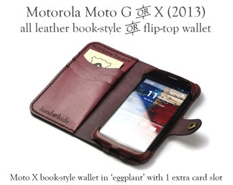 Moto X / Moto G (Original 2013 versions) Leather Wallet / Case / Cover - no plastic - Free Inscription