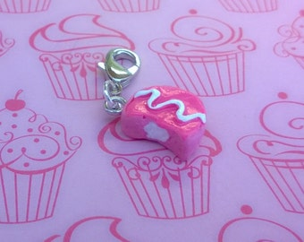 Strawberry Hostess Cupcake Ding Dong Polymer Dessert Food Charm Keychain Gift Minature Ooak Pink
