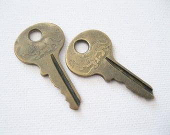 Vintage Master Lock Lion Keys - Brass Padlock Keys for Repurpose