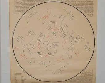 Vintage The Changeless Robe of Night 1956 Constellation Chart by Harrison R. Johnson