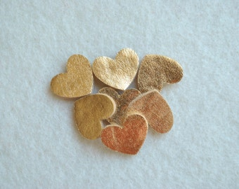 20 Piece Small Die Cut Felt Hearts, Metallic Colors