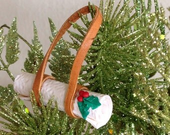 Yoga Ornament Yoga Mat Christmas Ornament Leather and White Mat with Holly - Love That Leather