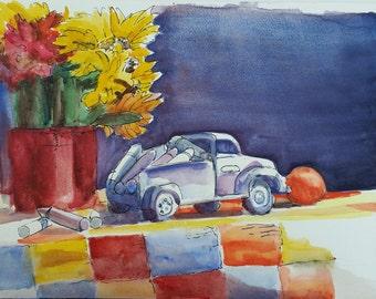 Watercolor Painting-Fine Art-Toy Truck Art-Childrens Art-Original Art by Diann
