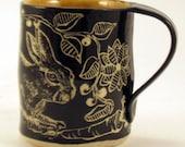 Pottery Art SGRAFFITO BUNNY / RABBIT Mug, Black Outside Amber Inside, Functional Ceramic Art Mug, Graceful Vines Leaves Berries