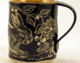 Easter Gift! BUNNY / RABBIT Mug SGRAFFITO, Black Outside Amber Inside, Functional Ceramic Art Mug, Graceful Vines Leaves Berries