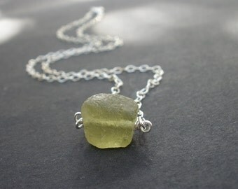 Raw Green Garnet, Excellent Green Grape Color, 925 Sterling Silver Wire Wrapped Necklace