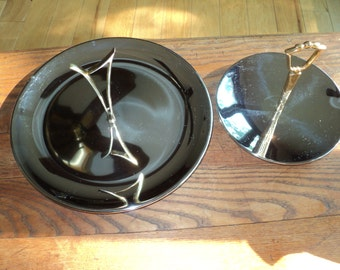 2 Mid Century Mod Kromex Serving Trays with Solid Brass handles, Rust Free, Tarnish Free Silver Kromex Serving Dish in vintage condition