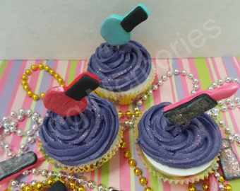 EDIBLE fondant Lipstick and Nail Polish toppers, Great for cupcakes and cake decorating