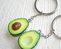 Best Friend Gift Keychain, BFF Key Chain Set of 2, Polymer Clay Food Key Ring, Avocado Jewelry, Miniature Food Charm, Long Distance Gift