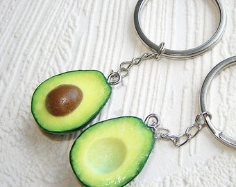 best friend gift keychain, BFF key chain set of 2, polymer clay food key ring, avocado jewelry, 1 inch avocado