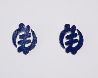 Stud Wood Earrings- Blue Gye Nyame