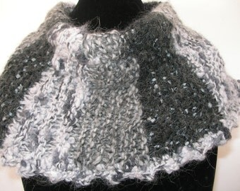 Knitted Light and Dark Grey Cowl Scarf