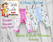 Kids Unisex Harem Pant Sewing Pattern. Toddler Pants pdf Pattern. Girl's Leggings Sewing Pattern. Baby Sewing Pattern. Boy's Pant Pattern.
