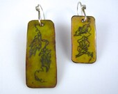 EAD 2015  157/158/365  Yellow Enamel with Graphite Vines Earring Pair
