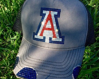 University of Arizona bling hat #universityofarizona #wildcats #bling #blinghats #truckerhats #icedcaps