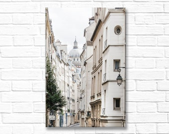 Paris Photography on Canvas - Rue de Bievre and the Pantheon, Gallery Wrapped Canvas, Large Wall Art, Architectural Urban Home Decor