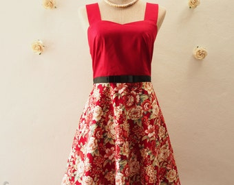 SALE Red Summer Dress Floral Swing Dress Bridesmaid Dress Tea Party Dress Red Floral Dress Christmas Dress Size XS,S,M