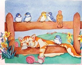 Cat greeting card on fence with birds singing watercolor print by Rebecca Gavney  Driscoll Set of five cards
