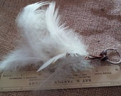Peacock Feather Keychain, White Feathers with Brown Speckles, Bag Charm, Car Charm, Purse Charm, Luggage Flag Charm,Great Gift Idea,