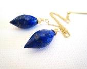Lapis Lazuli Threaders Lapis Ear Threads Lapis Ear Strings Minimalist Earrings Simple Earrings Faceted Jewelry Royal Blue Earrings Gift Idea