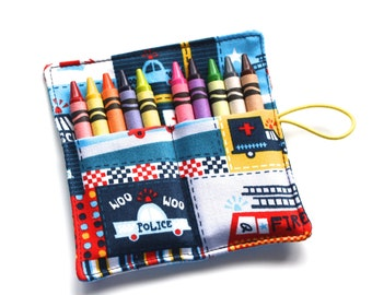 Crayon Roll, Firetrucks Police Cars Ambulance, Crayon Rollup, holds 10 Crayons, Fireman Birthday Party Favors crayon wraps, crayon sleeves