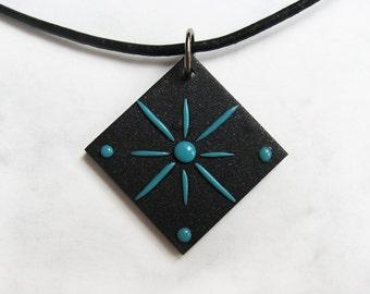 Geometric pendant, Polymer clay pendant, Starburst pendant, Geometric jewelry, Star pendant, Abstract pendant,Star jewelry, Abstract jewelry