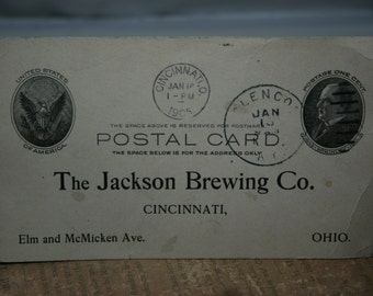 Antique Advertising Post Card - The Jackson Brewing Company- 1905