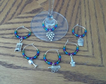 """6 pc """"Wine Time"""" Wine Charms"""