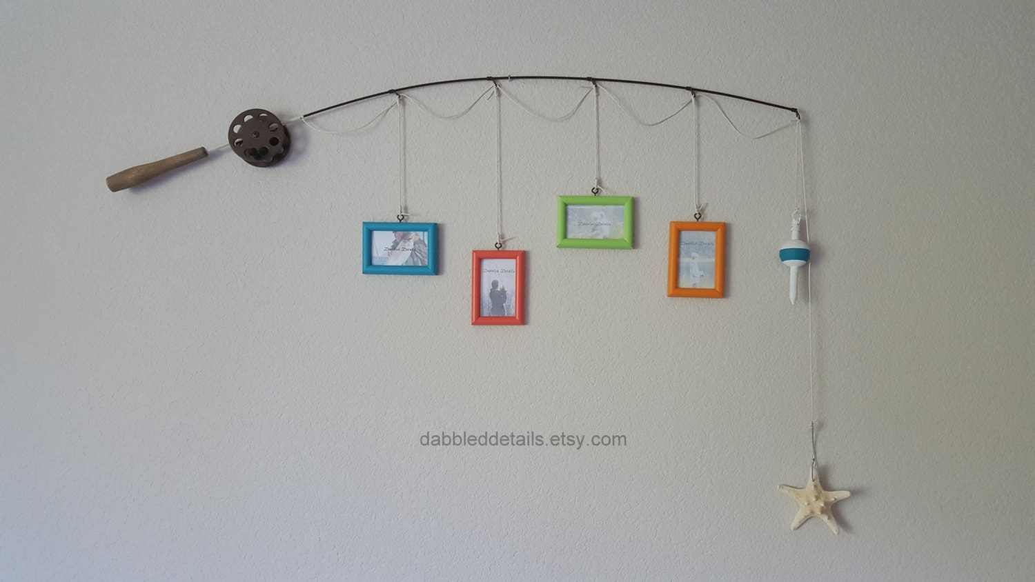Fishing pole picture frame new design brown or silver for Fishing picture frame