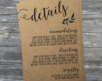 Rustic Wedding Details Card