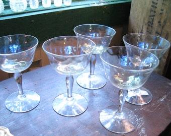 Five Antique Opalescent Wine Goblets