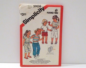 Hang Ten Clothing Sewing Pattern Simplicity 5908 Girls Pants Capri Shorts Romper Jumpsuit Pullover Top 1980s Stretch Knit Free US Ship