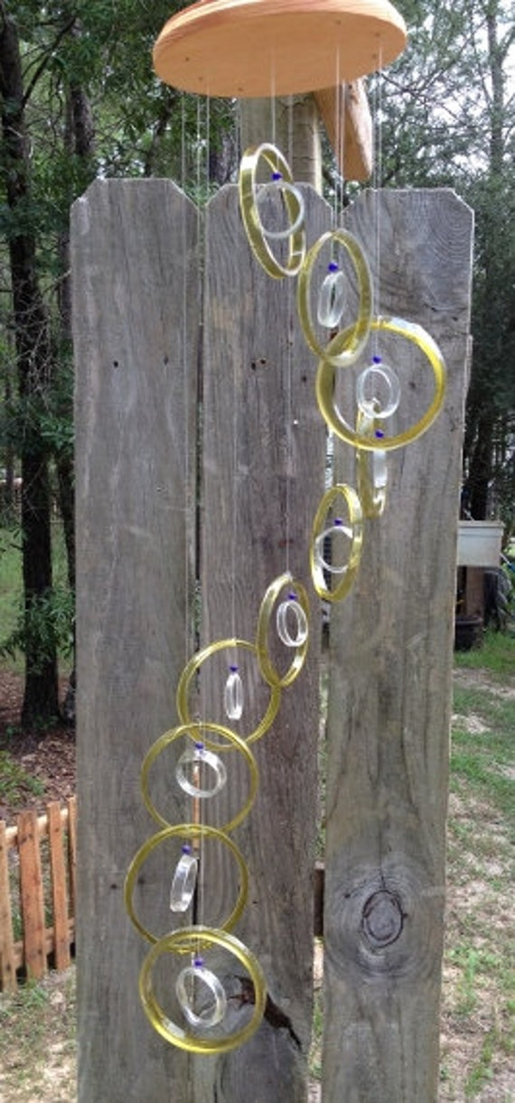 yellow, clear, GLASS WINDCHIMES from RECYCLED bottles,   garden decor, wind chimes, mobiles, musical, windchimes