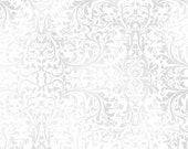 Christmas, Damask, Holiday Elegance by Quilting Treasures, White Damask, White Fabric, Pewter Fabric, 11005