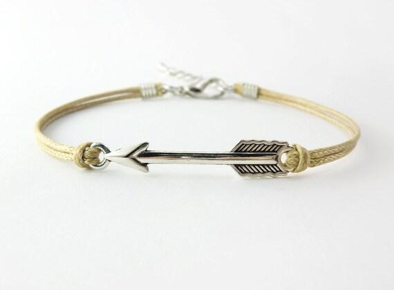 silver arrow bracelet khaki cord bracelet by cutiecottage