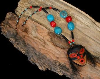 Shaman Necklace, Totem Necklace, Native American Necklace, American Indian Jewelry, Tsonokwa Shaman Mask, Ethnic, Tribal Necklace