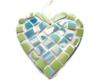 Blue Green Mosaic Heart - Small China Mosaic Heart Wall Hanging
