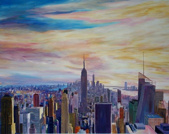 New York City Manhattan Panorama with WTC Chrysler Empire State Building - Limited Edition Fine Art Print