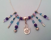 HAMSA Hand Necklace Silver Purple/Blue Crystals HANDMADE Israeli Fashion Gpsy Style Necklace & Chain Lanyard