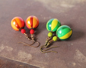 SALE Wooden beads Earrings Green Wooden Earrings Orange Wooden Earrings Boho style Earrings Rustic Earrings Colorful jewelry Boho 50% OFF