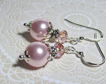 Pink Pearl Earrings. Swarovski Pearl and Crystal Earrings. Pink Wedding. Bridesmaid Earrings. Dressy. Sterling Silver Earrings.
