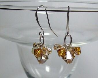 Swarovski Topaz Crystal Earrings. Sparkly Crystal Earrings.