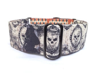 "Grunge Skulls Halloween Dog Collar - 1"" or 1.5"" Grungy Black, Orange, and Cream Skulls and Harlequin Martingale or Buckle Dog Collar"